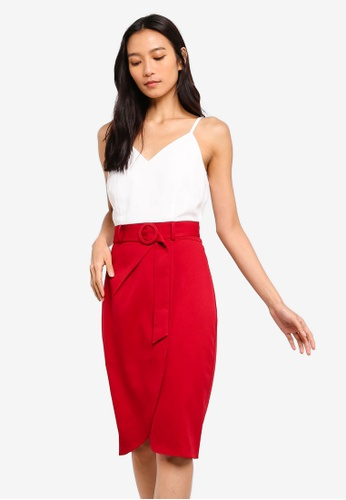 ZALORA white and red Overlap Skirt Dress With Belt DDB0AAADF318D5GS_1