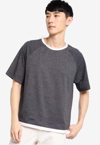 ZALORA BASICS grey and white Contrast Layer Raglan T-Shirt 38668AA0E60619GS_1
