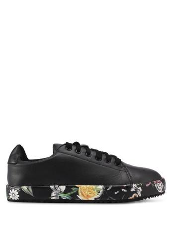 LOST INK black Sunny Floral Plimsolls LO238SH0T1R0MY_1