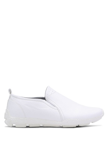 ZALORA white Faux Leather Sporty Slip Ons F0829SH48A6EF6GS_1