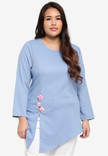peace collections blue Plus Size Blouse 54A72AA92D2DA8GS_1