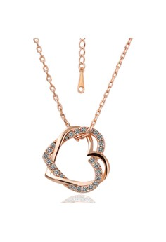 Treasure by B&D N007 Rose Plated Lover's Hearts Pendant Necklace With Zircon Inlay
