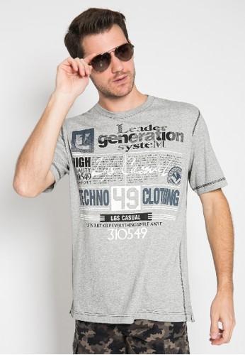 LGS grey Regular Fit - Kaos Casual - Motif Tulisan Sablon - Warna Abu 06F15AA41D621FGS_1