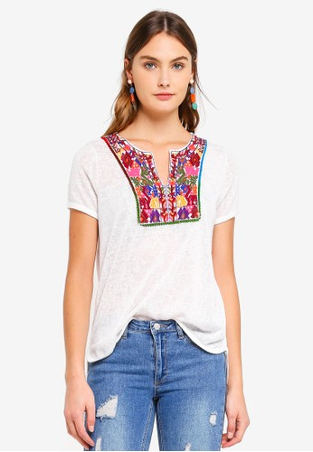 Brave Soul beige Linen Look T-Shirt With Embroidered Bib 91D8AAA87078D4GS_1