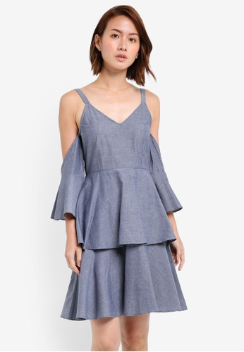 ZALORA blue Cold Shoulder Cami Dress With Ruffles 3F685AA4418D19GS_1