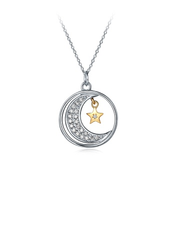 Glamorousky silver 925 Sterling Silver Elegant Fashion Star and Moon Pendant and Necklace with Cubic Zircon B14CDACA2BBCA7GS_1