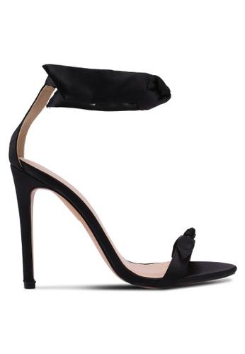 Public Desire 黑色 一字帶蝴蝶結繞踝高跟鞋 48D8FSH0358527GS_1