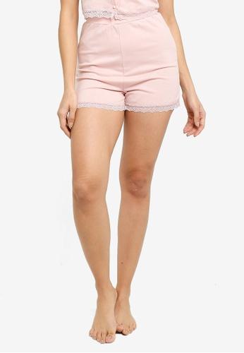 ZALORA BASICS 粉紅色 Lounge Lace Hem Shorts Co-ord B9174AAE61FE01GS_1