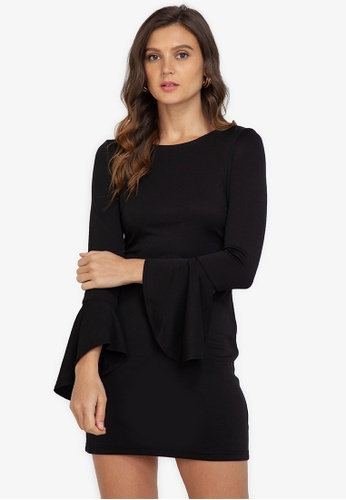 ZALORA WORK black Fluted Sleeves Bodycon Dress 1A200AA14BBDB2GS_1