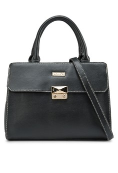 Contrast Edge Convertible Push-Lock Satchel