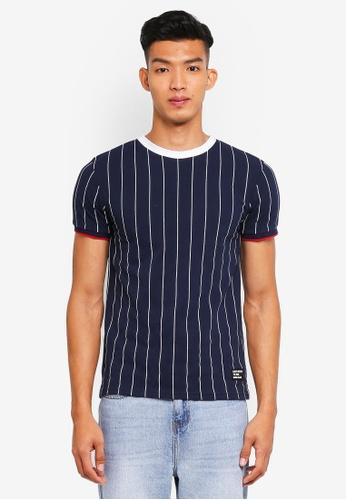 Penshoppe 海軍藍色 短袖條紋T恤 2C418AA267678BGS_1