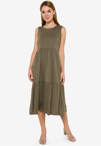 JACQUELINE DE YONG green Dalila Life Frosty Sleeveless Dress 61F3AAA6B023B7GS_1
