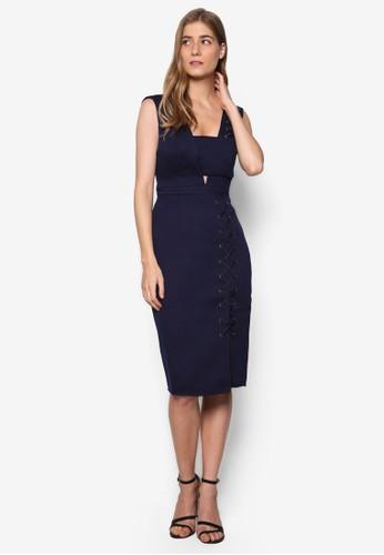 Hazalora taiwan 時尚購物網rley 穿孔繫帶緊身洋裝, 服飾, 服飾