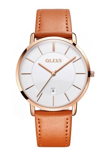 OLEVS multi Olevs Ultra Light Men Calendar Leather Quartz Watch 582B7AC4A5DF47GS_1
