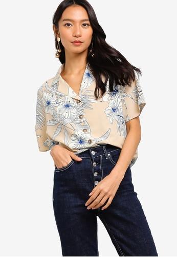 ZALORA 多色 and 米褐色 Kimono Sleeves Shirt 5EFA0AA9763DD6GS_1