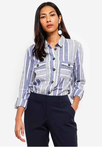 Dorothy Perkins navy Navy Stripe Linen Shirt 03F5DAA6FF5313GS_1