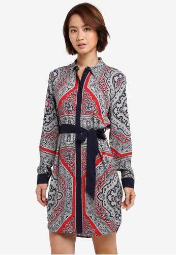 WAREHOUSE red Scarf Print Shirt Dress B9E17AA60B711CGS_1
