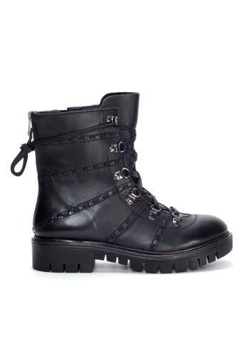 Shu Talk 黑色 型格綁帶中高女靴 SH544SH09Y2HTW_1