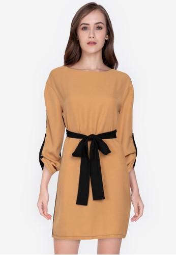 ZALORA WORK brown Colourblock Self Tie Dress 69FCBAA574ED76GS_1