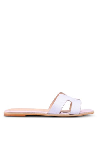 Nose 紫色 Croco Print Flat Slide On Sandals 75434SH03D09F7GS_1