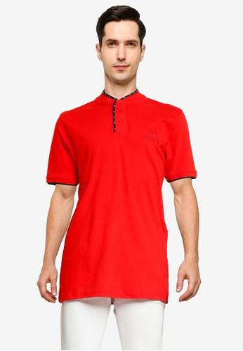 Fidelio red Mandarin Collar Embroidery Polo Shirt BB5F8AAF4DDC21GS_1