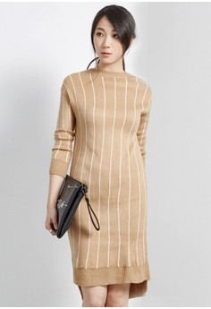 Minimalist Hip Striped Knit Dress