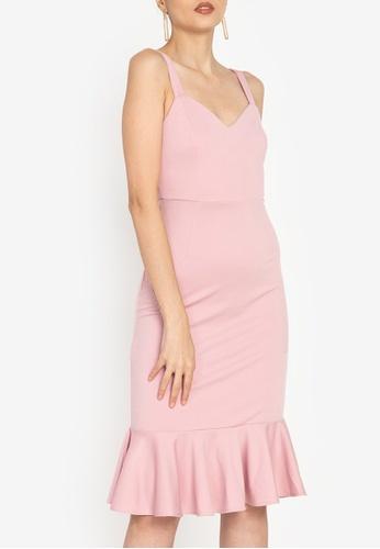 ZALORA OCCASION pink Sweetheart Fluted Hem Dress AEE14AAF6EF767GS_1