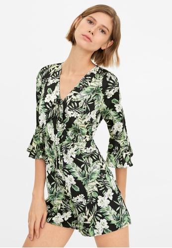 Pomelo black Front Tie Floral Print Romper 55A75AA4D2085BGS_1