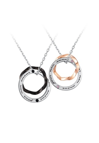 MBLife silver 925 Sterling Silver Interlocking Ring Pour Mon Amour Couple Necklace Set C2886ACB84ED26GS_1