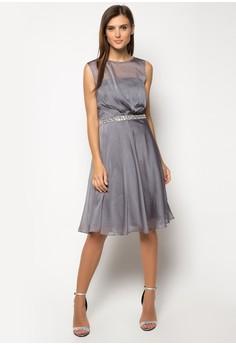 Cationic Embellished Belt Prom Dress