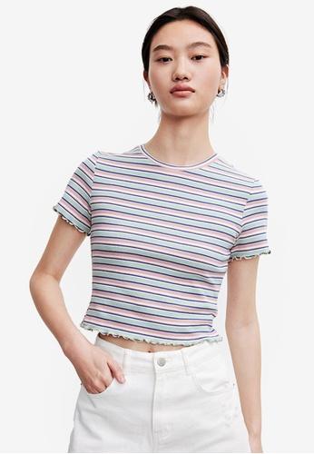 Urban Revivo green Stripe Short Sleeve Top E2506AA4A18265GS_1