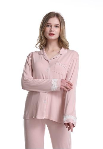 QuestChic 白色 and 粉紅色 and 多色 奧丁莫代爾睡衣 8517DAA8962FD4GS_1