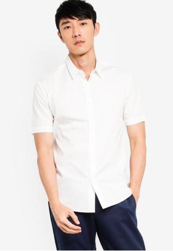 ZALORA BASICS white Basics Slim Fit Short Sleeve Shirt 0944CAA0B88673GS_1