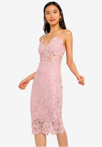 MISSGUIDED pink Strappy Lace Midi Dress 79348AA0EDD423GS_1