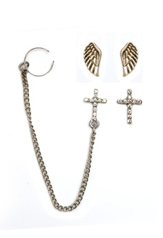 Accessorize Cross & Angel Wing Ear Cuff Pack