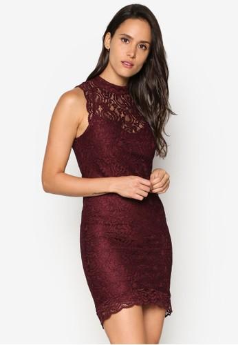 高領esprit outlet 高雄蕾絲貼身連身裙, 服飾, 洋裝