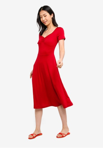 ZALORA BASICS red Basic Midi Fit & Flare Jersey Dress BA4E5AAAF0152BGS_1