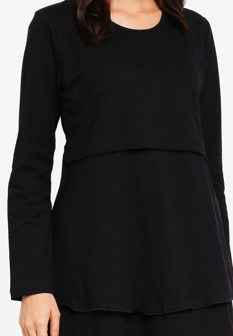 Muslimah Aqeela Layered Top Nursing Wear Black Rnqwd1S