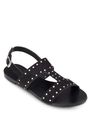 鉚zalora 衣服評價釘繞踝平底涼鞋, 女鞋, 涼鞋
