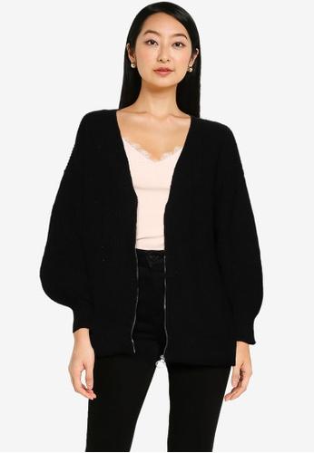 ZALORA BASICS black Oversized Cardigan With Zip 49829AAC4EA2A2GS_1
