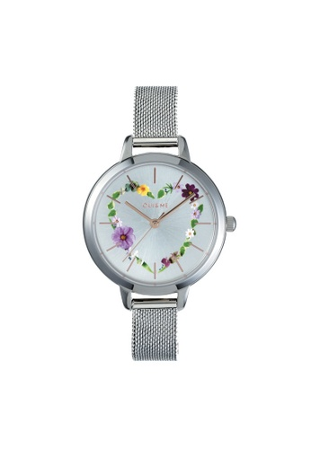 Oui & Me silver Petite Fleurette Quartz Watch Silver Metal Band Strap ME010006 9DF1FACEECF8C1GS_1