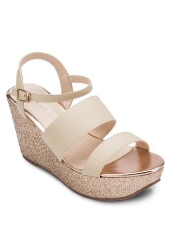 多帶厚底楔型跟涼鞋, 女鞋, 楔形涼esprit 高雄鞋