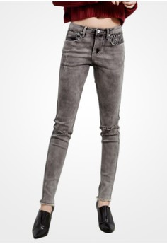 Fade Out Boho Distressed Jeans