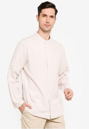 ZALORA BASICS grey Skinny Fit Mandarin Collar Shirt 411E5AA197B3F2GS_1
