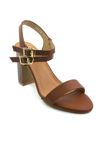 SHINE brown Round Block Heel Sandals SH554SH50MUNSG_1