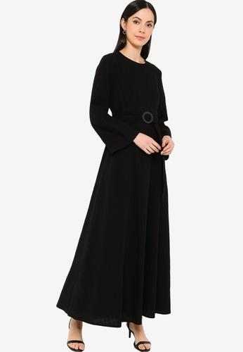 ZALIA BASICS black Basic Belted Dress 2AC32AABF6948EGS_1