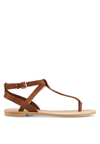 ZALORA brown T-Strap Microfiber Sandals 01DEBSH358DCD1GS_1