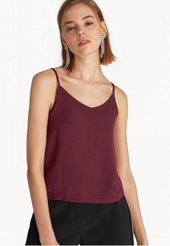 527a50aad856 Buy Pomelo Buttoned Back Cami Top - Burgundy Online on ZALORA Singapore