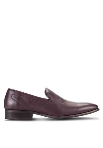 ZALORA brown Faux Leather Slip On Dress Loafers 0A38FSHC1F6533GS_1