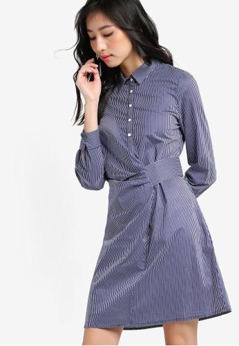 抓褶側帶西條紋襯衫zalora 泳衣連身裙, 服飾, 洋裝